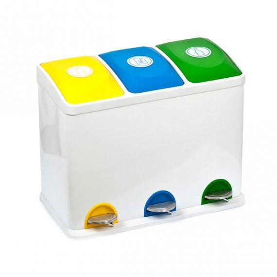 Poubelle De Recyclage Avec 3 Compartiments De 15 Litres Poubelle Meuble Rangement Cuisine Poubelle Recyclage