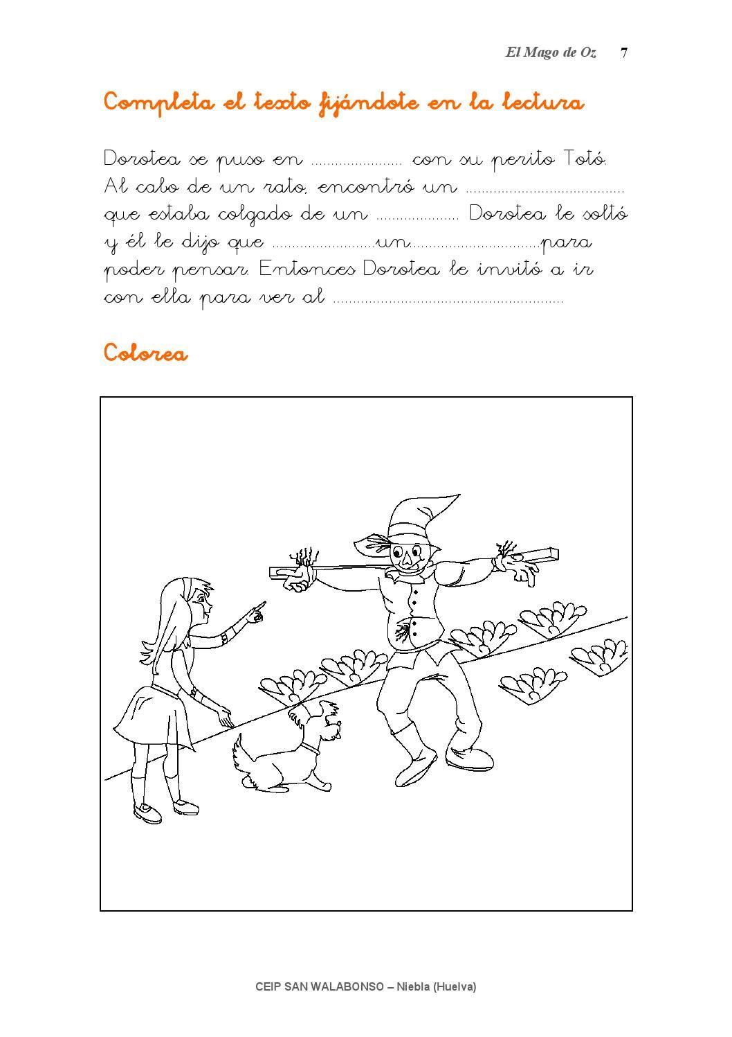 Cuento Con Actividades De Lectoescritura Ceip San Walabonso De Niebla Huelva Mago De Oz Personajes Mago De Oz Mago
