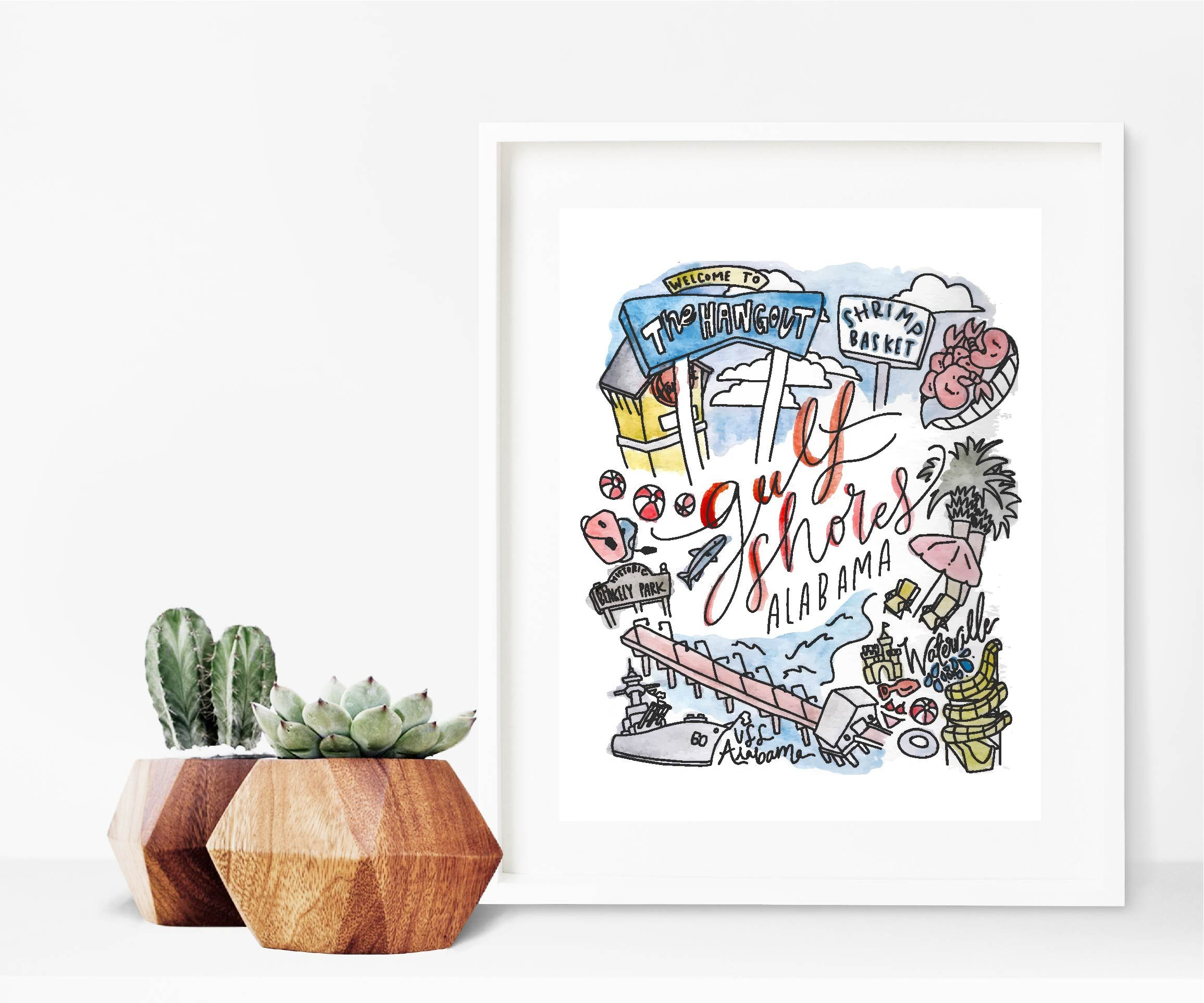 Gulf Shores Al Print Hand Illustration Watercolor Ink