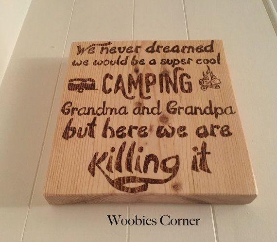 Grandparents gift, Camping sign, Wood camping sign, Grandma and Grandpa sign, Grandparents sign, Ca