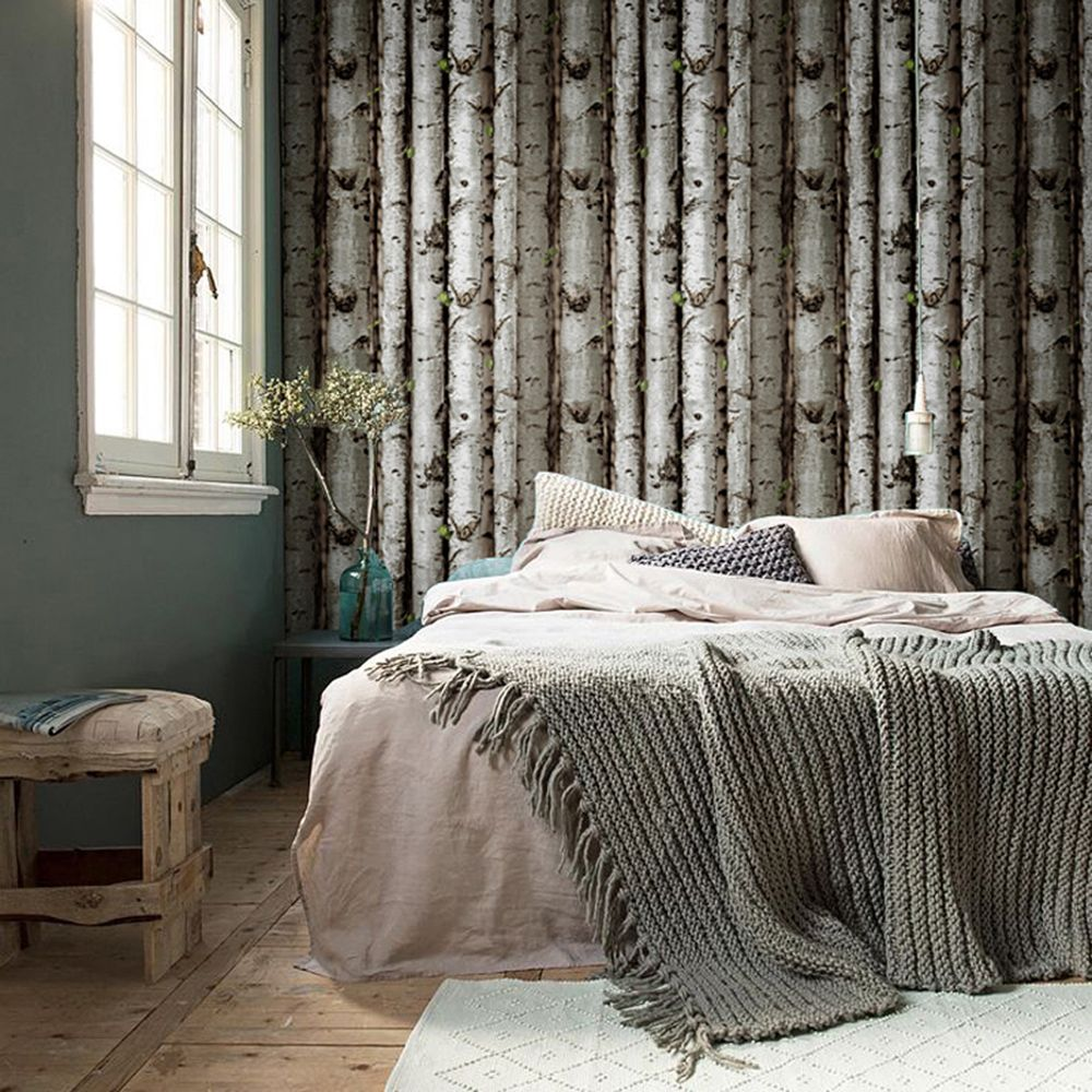 cheap wallpaper flags buy quality wallpaper location directly haokhome 151033 vintatge birch tree wallpaper rolls black green grey forest wood designer home interior decoration x