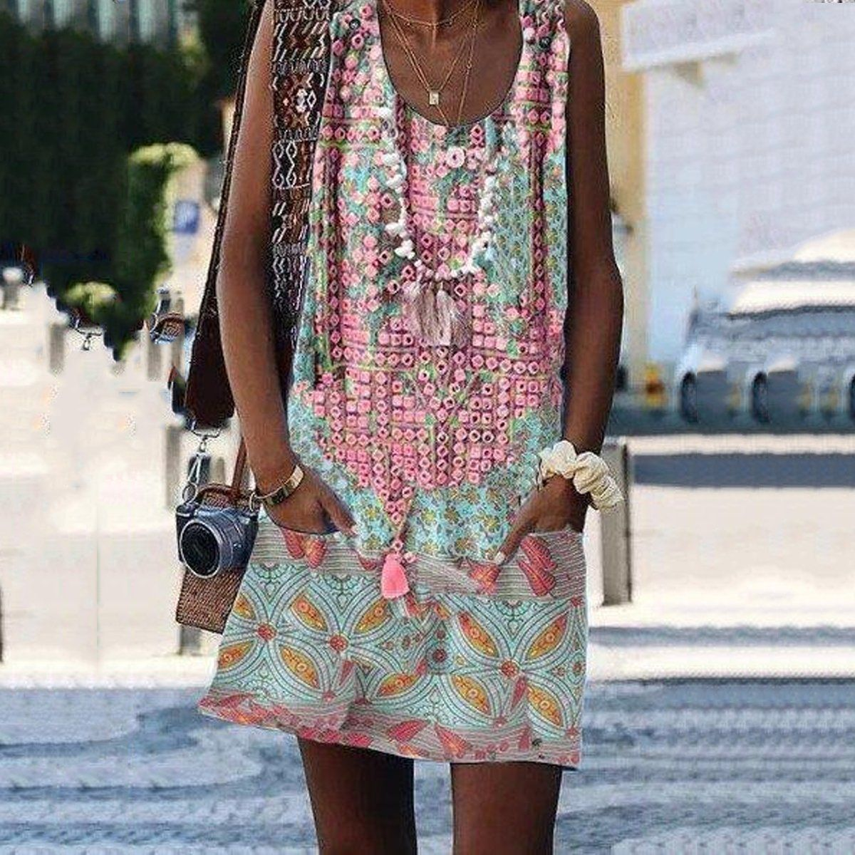 Crew Neck Casual Floral Print Sleeveless Summer Shift Dresses Klader [ 1200 x 1200 Pixel ]