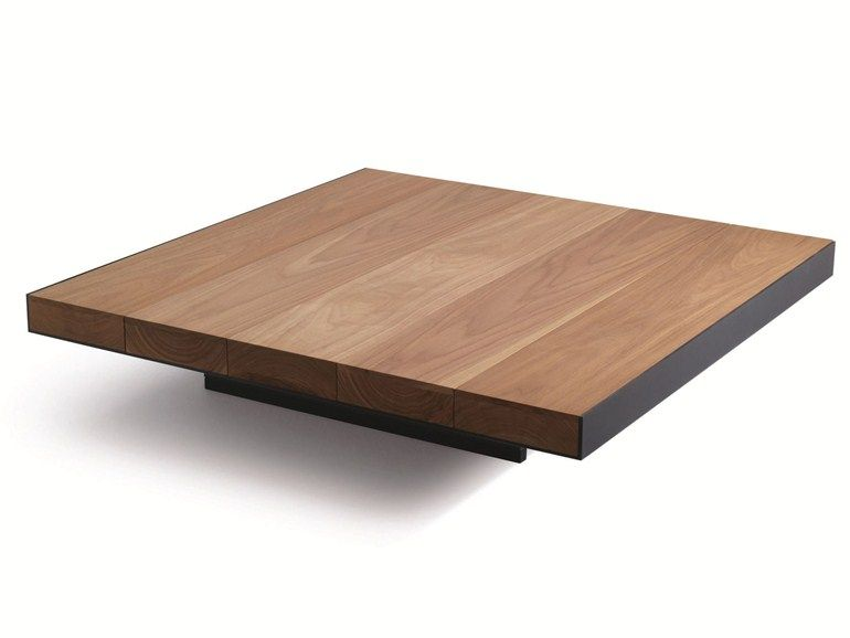 Low square solid wood coffee table deck by lema design for Low coffee table wood