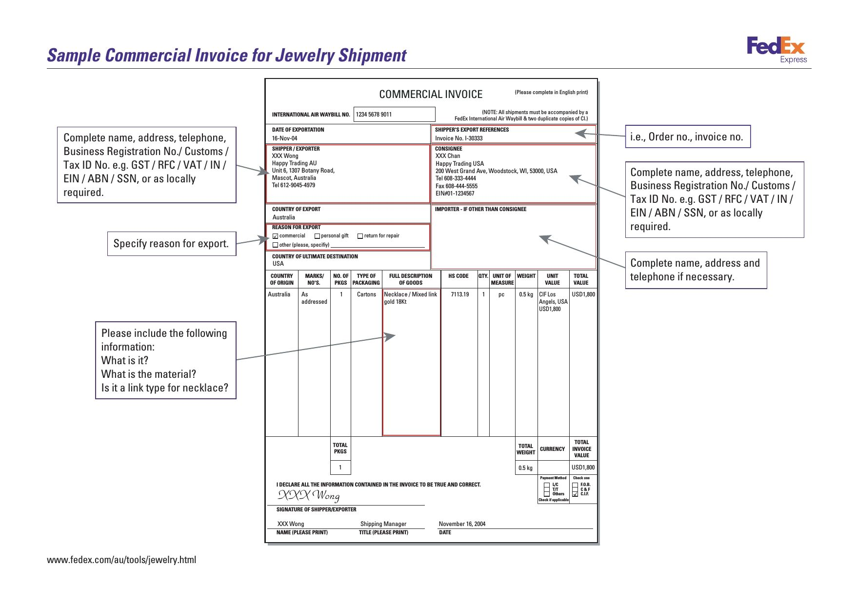 Sample Commercial Invoice For Jewelry Shipment No Commercial Value - Commercial invoice template free