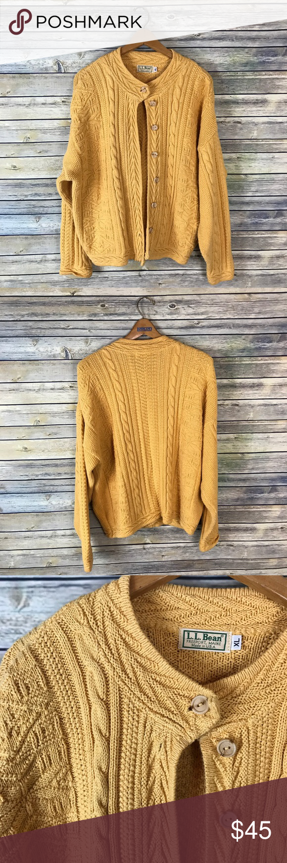 L.L.Bean Vintage Mustard Cable Knit Cardigan Very pretty mustard ...