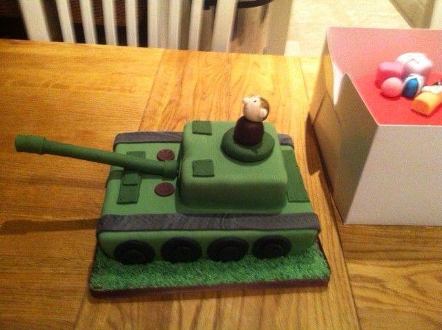 Army tank inspired children's cake