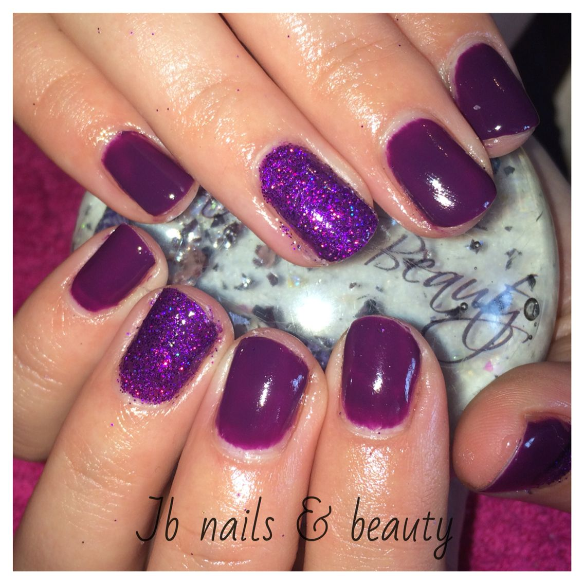 Dark purple gel polish on natural nails with added glitter | My ...