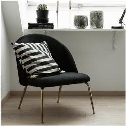 Photo of Heather Lounge Chair, Velvet Upholstered, Onyx Black Leg Color: Brass Leg Cult Furniture