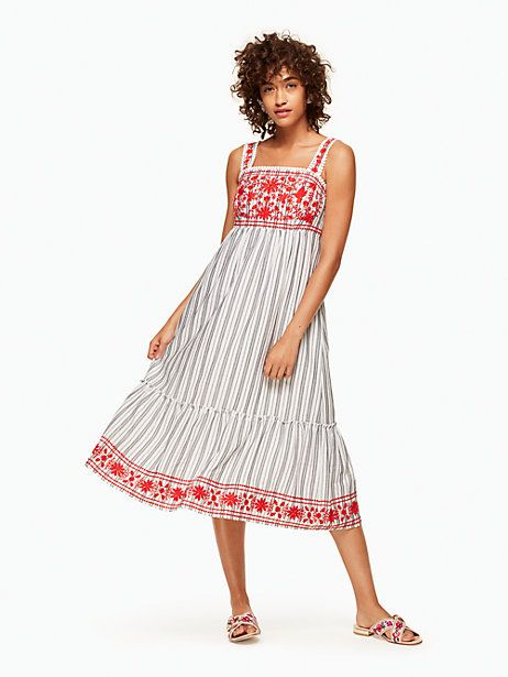 2d310fdca66fb Kate Spade Stripe Embroidered Midi Dress, Fresh White/Black - Size L ...