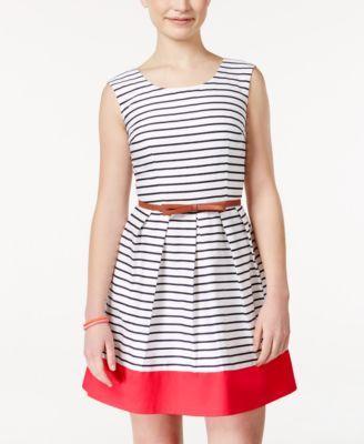 BCX Juniors\' Striped Belted A-Line Dress | Award Ceremony Dresses ...
