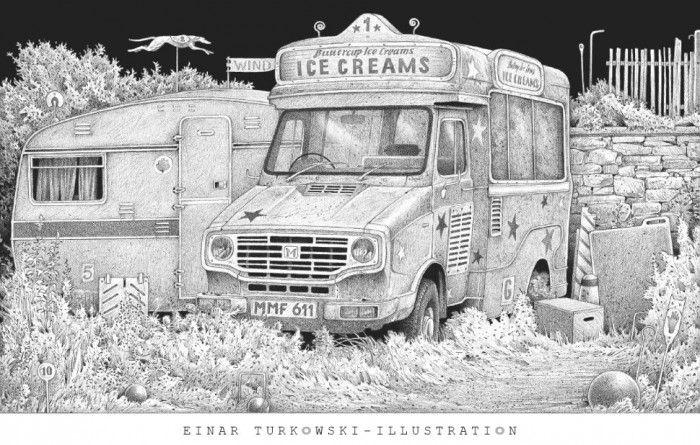Einar Turkowski, Postkarte Der Eiswagen