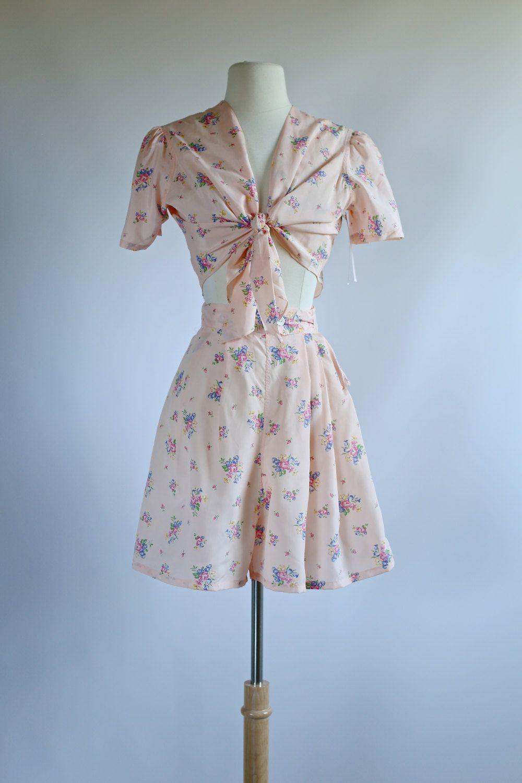 Vintage 1940s Rayon 2 piece Romper Set NOS ~ Vintage 40s Rayon ...