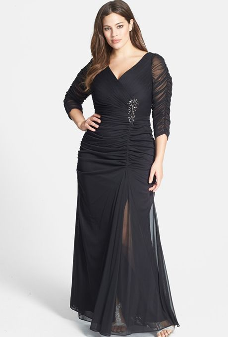Adriana Papell - Beaded mesh plus-size gown | Plus size ...