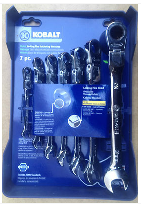 These American made Kobalt flex head ratcheting wrenches are better than the Gearwrenches because they lock in the position that you need them to while working. I can't wait to get the whole set.
