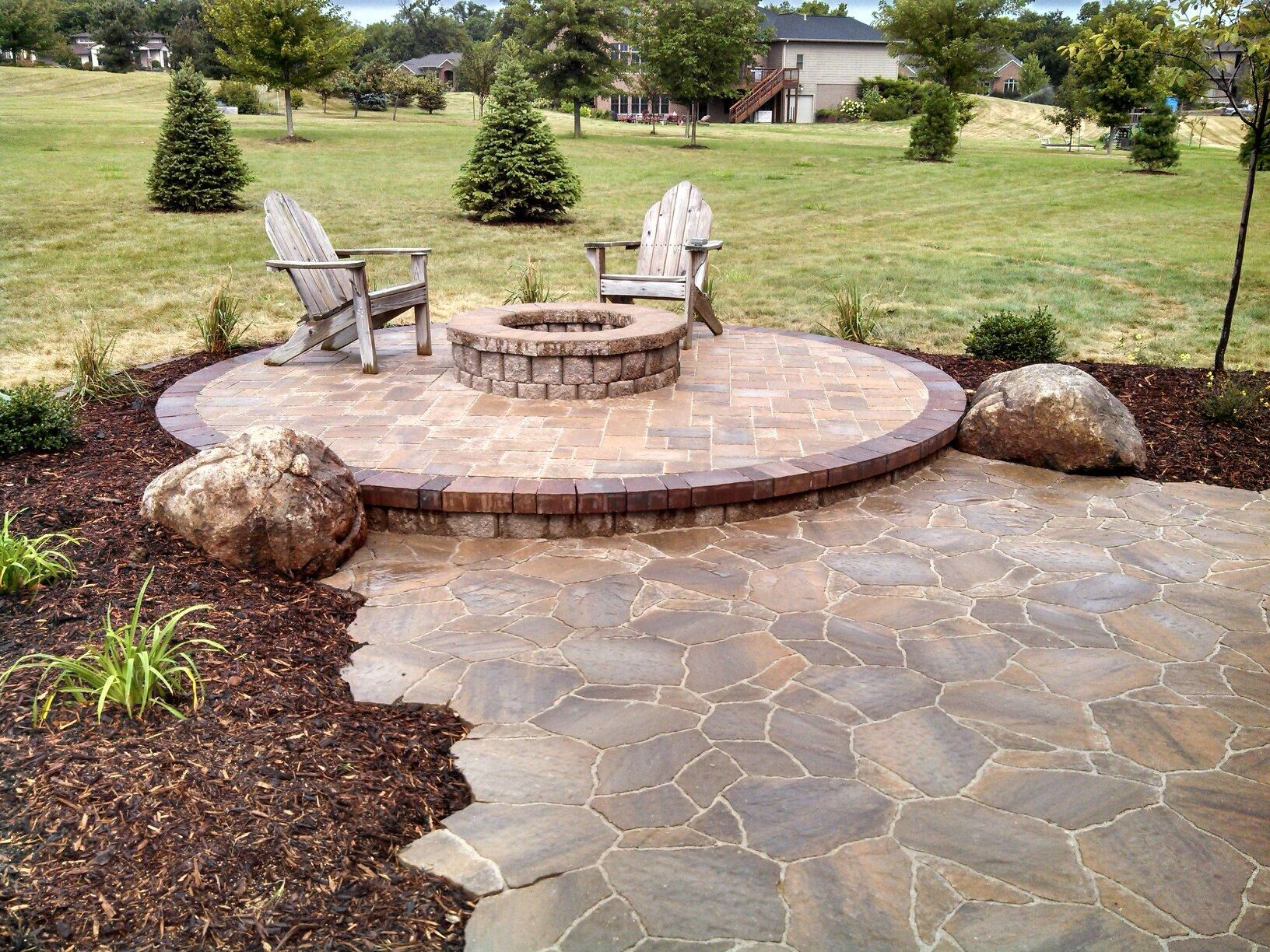 raised patio and fire pit country landscapes i need this on backyard fire pit landscaping id=60359
