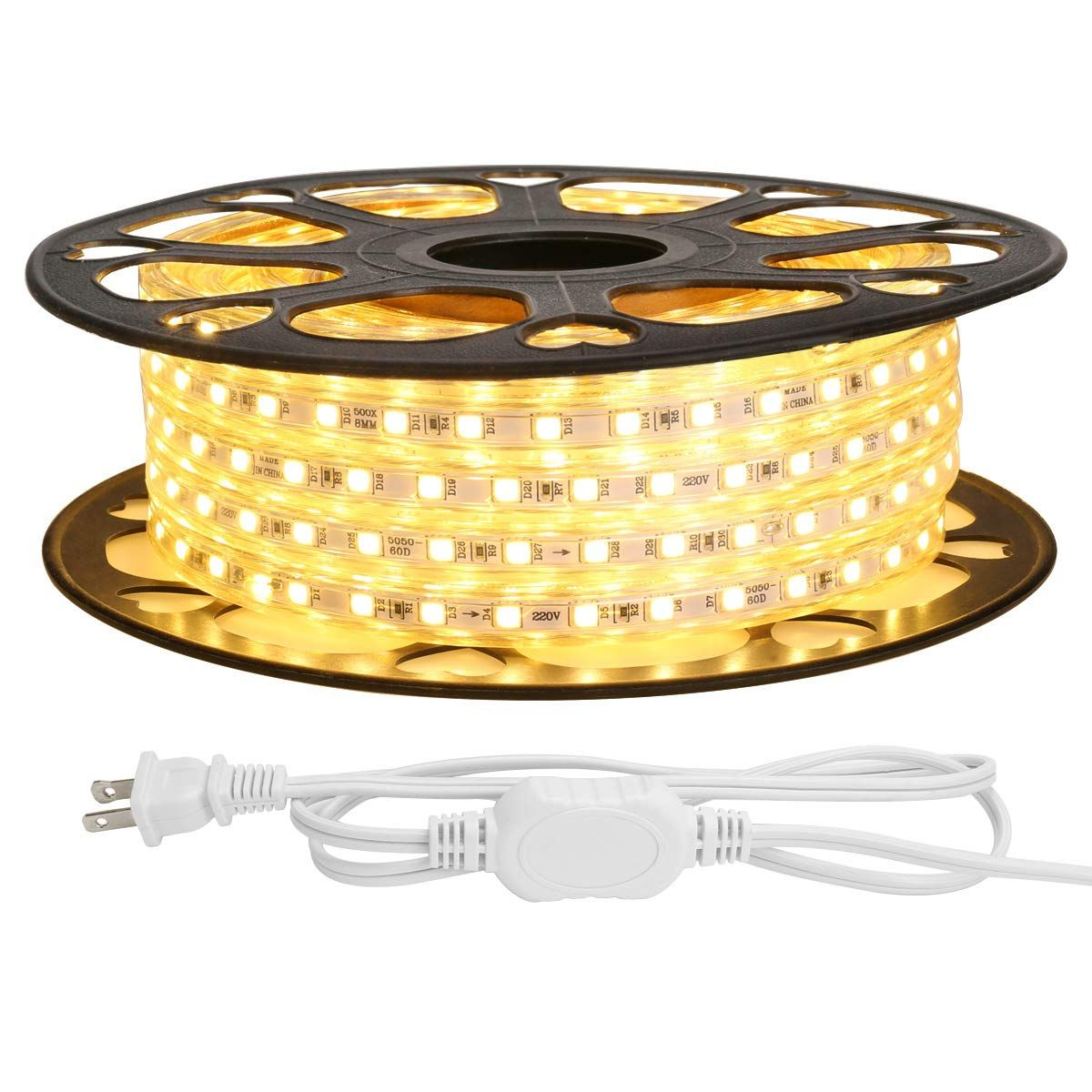 Le 49ft Led Strip Lights 120 Volt 115w 900 Smd 5050 Leds Waterproof Flexible Warm White Etl L Led Rope Lights Led Strip Lighting Strip Lighting