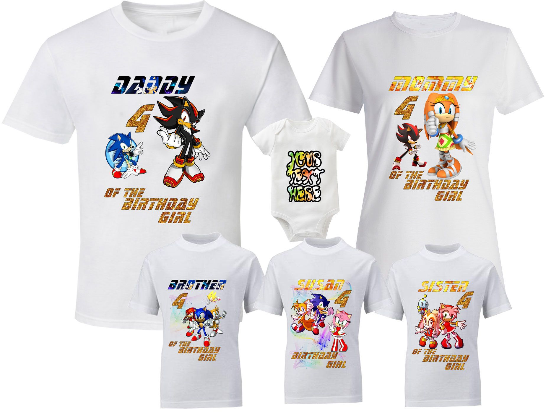 "174e97184 Birthday Sonic Shirts Sonic T-Shirt Sonic Family Shirts Birthday T-Shirts  Sonic Amy Rose Tee the Hedgehog Tee Miles ""Tails"" Prower Shirt by ..."