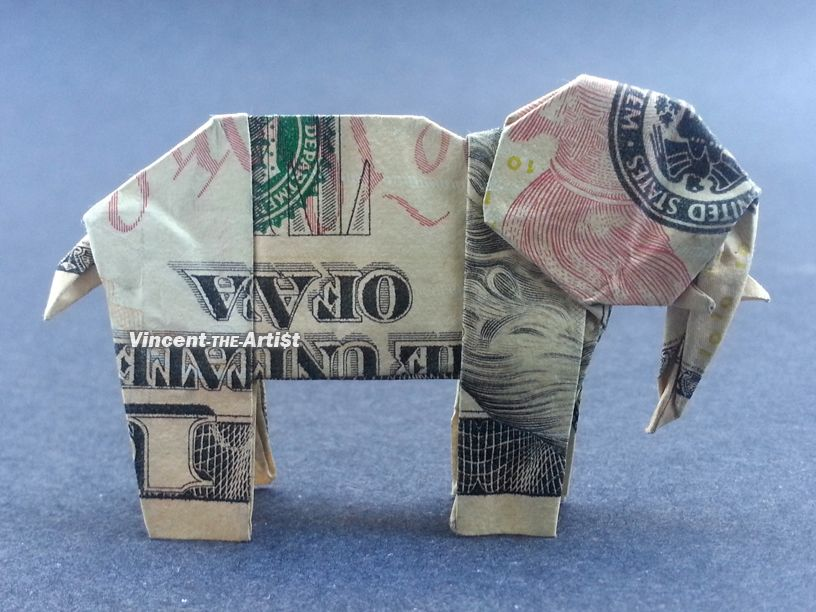 10 Origami Elephant Money Dollar Art Foldy Things Money