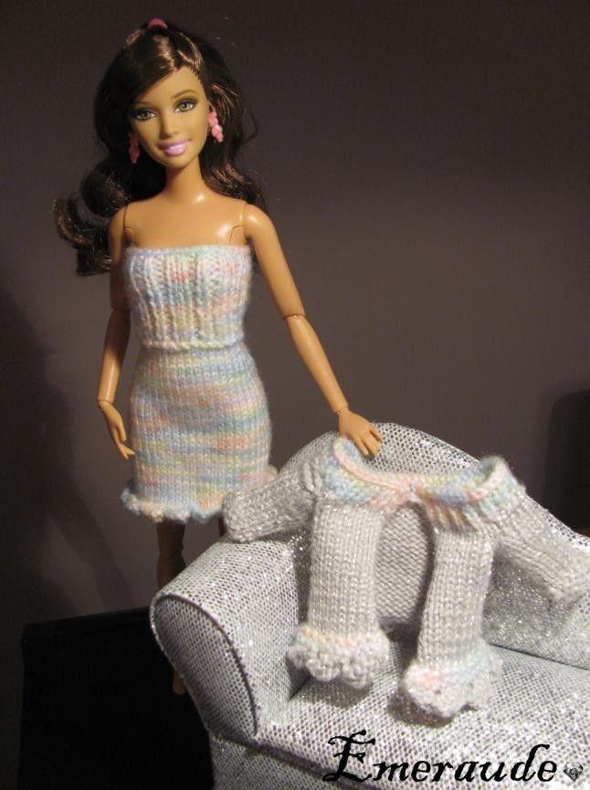 Tricot Ensemble N 176 6 Robe Et Gilet Pour Barbie Barbie