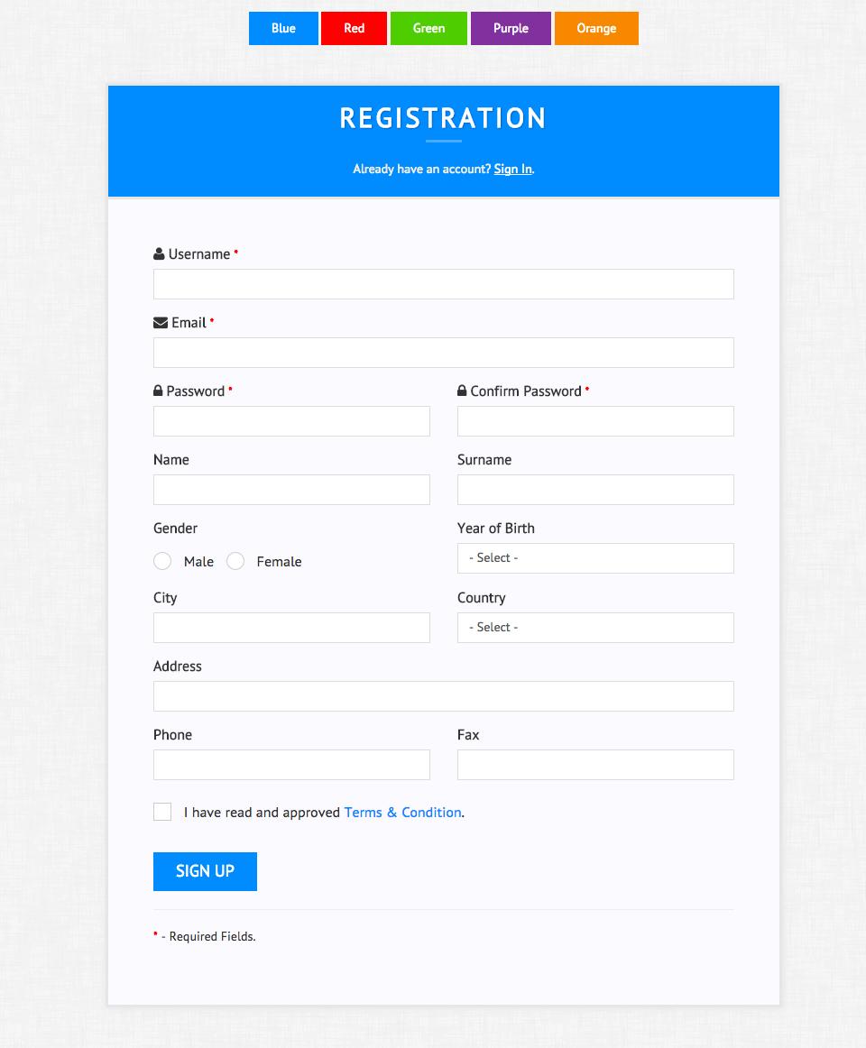 Multipurpose Forms CSS3 by RBWebDesign Branding design
