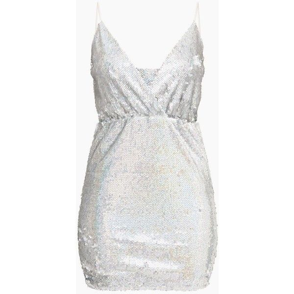 ff983bcacc9 Silver Plunge Sequin Bodycon Dress ( 66) ❤ liked on Polyvore featuring  dresses