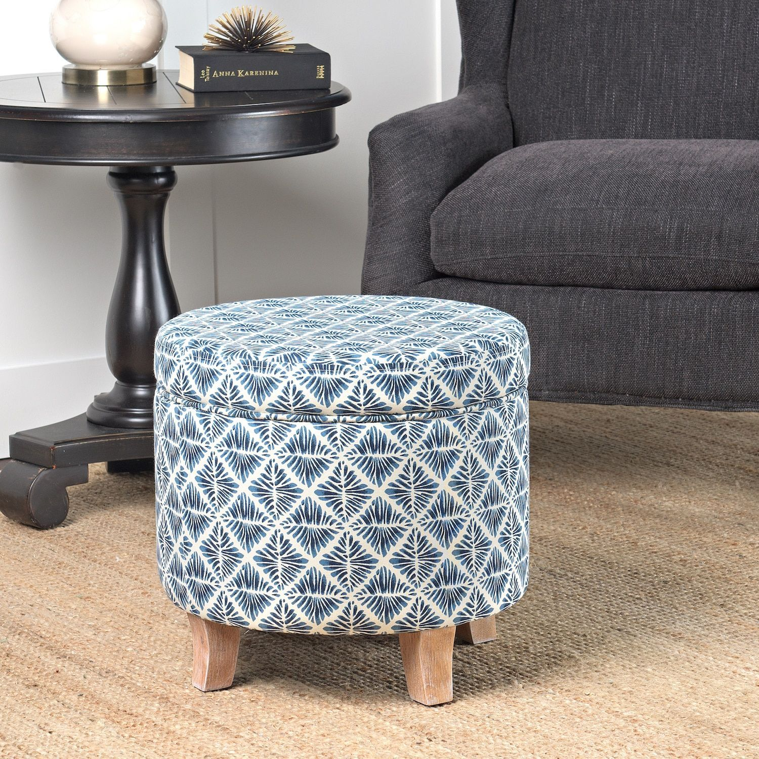Homepop cole classics round storage ottoman flared wood leg in modern navy and white geometric navy and white blue size small fabric