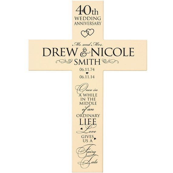 Personalized Cross 40th Wedding Anniversary by DaySpringMilestones
