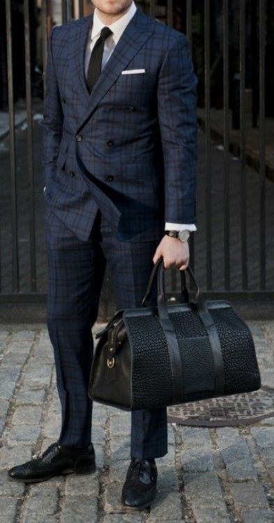 Navy checkered suit and black bag d0a42865b44eb