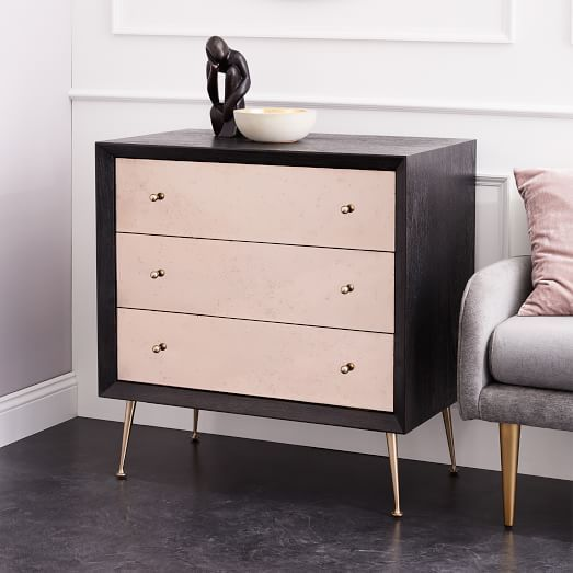 Celestial 3 Drawer Mirrored Dresser Blush Black Gold Scandinavian Design Interior Living Scandinavian Black Gold Bedroom Gold Rooms Dresser With Mirror