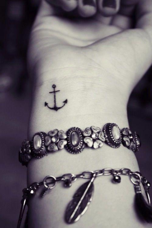 Piccolo tatuaggio ancora sul polso Tatuaggio Ancora, Tatuaggio Semplice,  Tatuaggi Di Ancora Sulla Caviglia