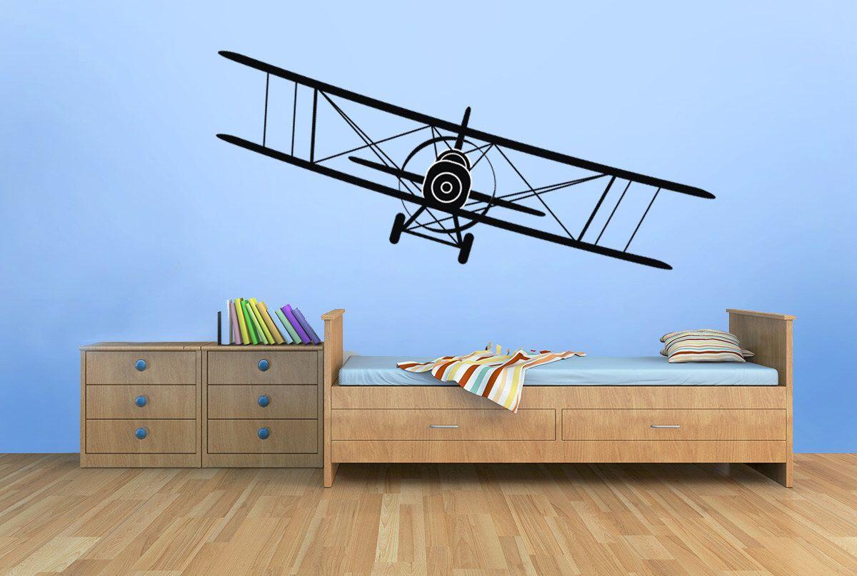 Biplane vinyl decal airplane wall nursery decor children boys bedroom  up to also rh pinterest