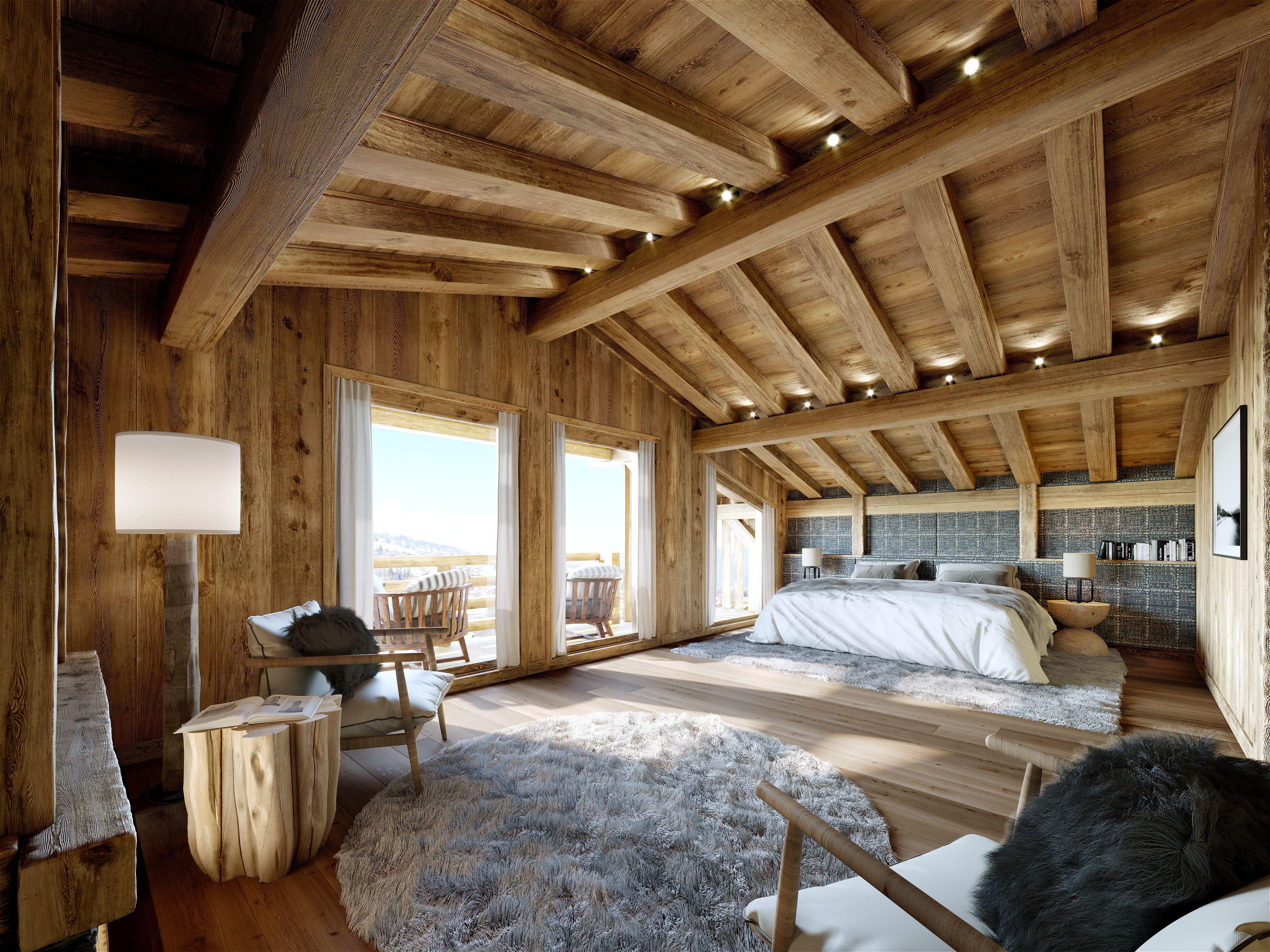 Arkland Chalet Bedroom Chalet, 3d visualization, Chalet