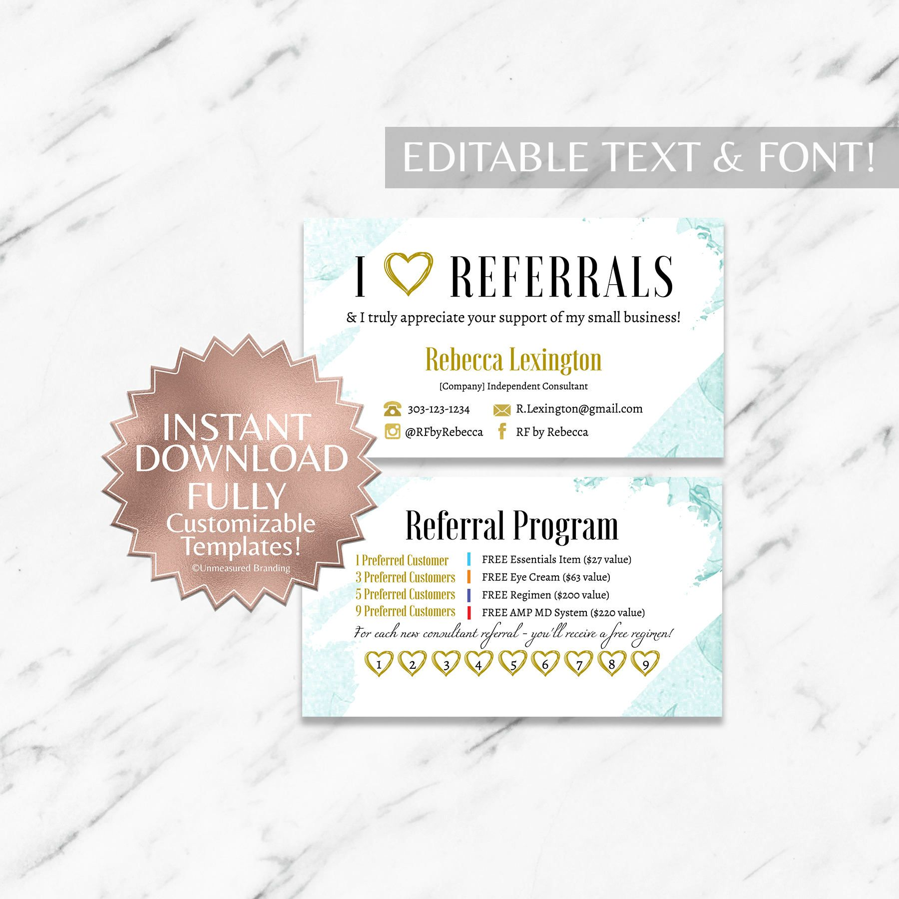 Mint Floral Rodan And Fields Referral Card Instant Download Template Card Templates Free Card Template Referral Cards