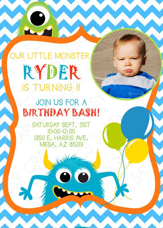 Monster Birthday Invitation Little Monster 1st Birthday Chevron Blue