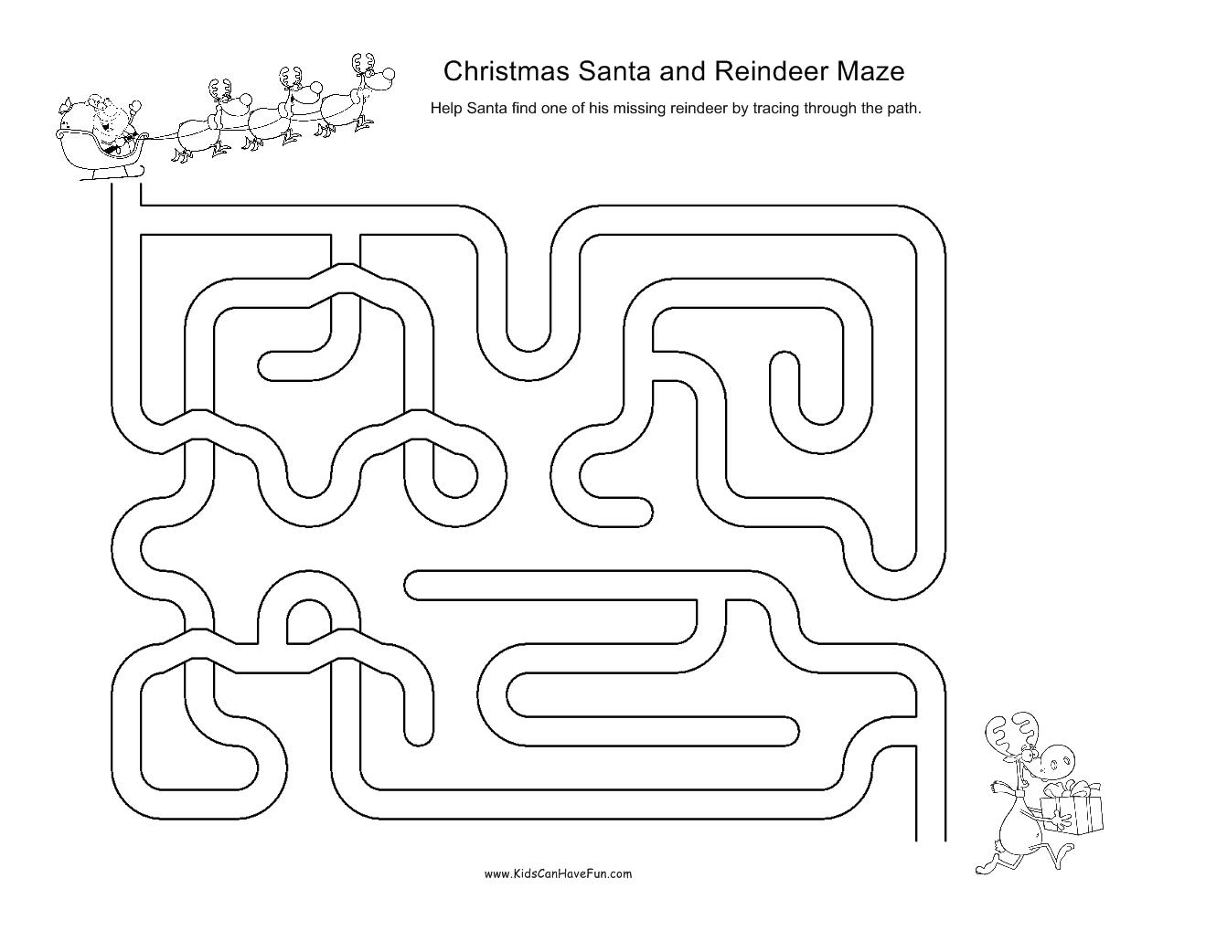 Christmas Mazes For Kids Santa Snowman Angel Reindeer
