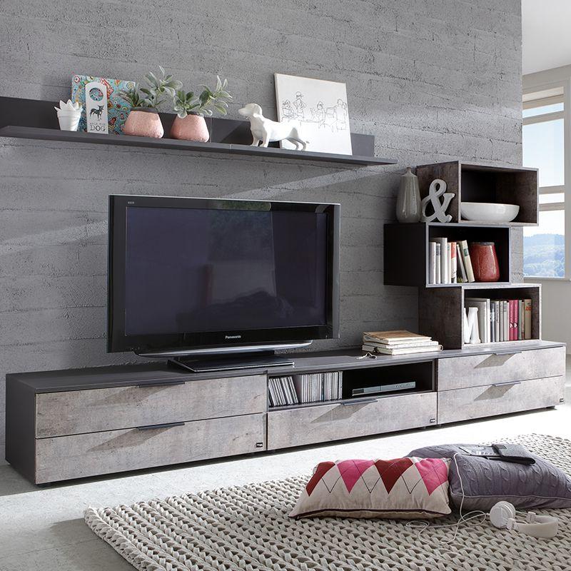 Banc Tv Anthracite Et Effet Beton Moderne Betona Deco Meuble Tv Mobilier De Salon Meuble Salon