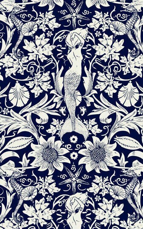 Mermeid mural dark blue