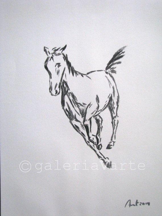 Original au fusain dessin – cheval – europeanstreetteam