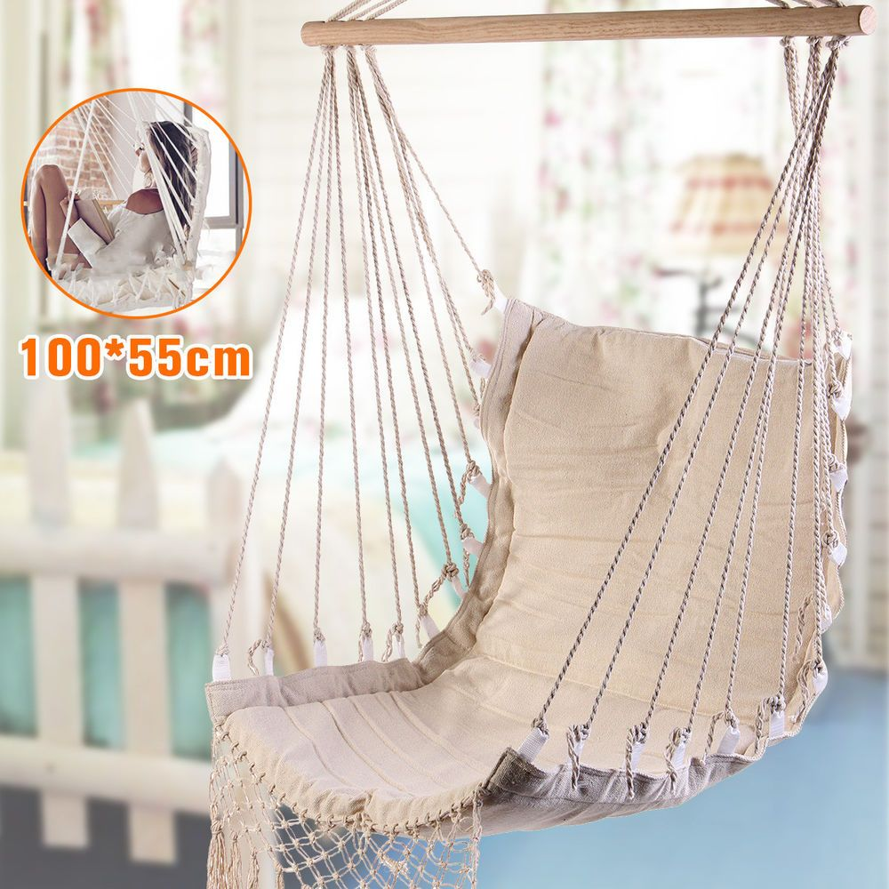 Outdoor Canvas Swing Hanging Hammock Cotton Rope Tassel