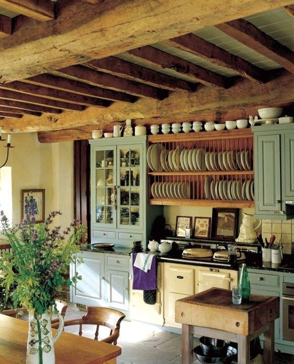 Küchendesign  einzigartiges rustikales Küchendesign aus Holz mit mintgrünen ...
