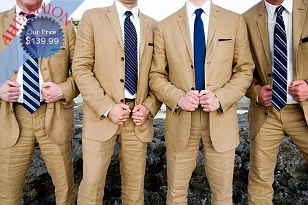 tan suits with navy ties | Wedding Ideas | Pinterest | Blue ties ...