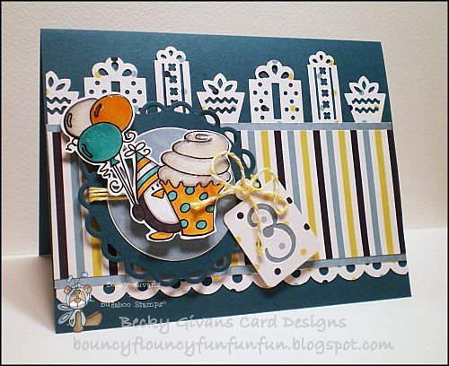 Birthday card featuring Bugaboo Stamps  Penguin Birthday-Cupcake,