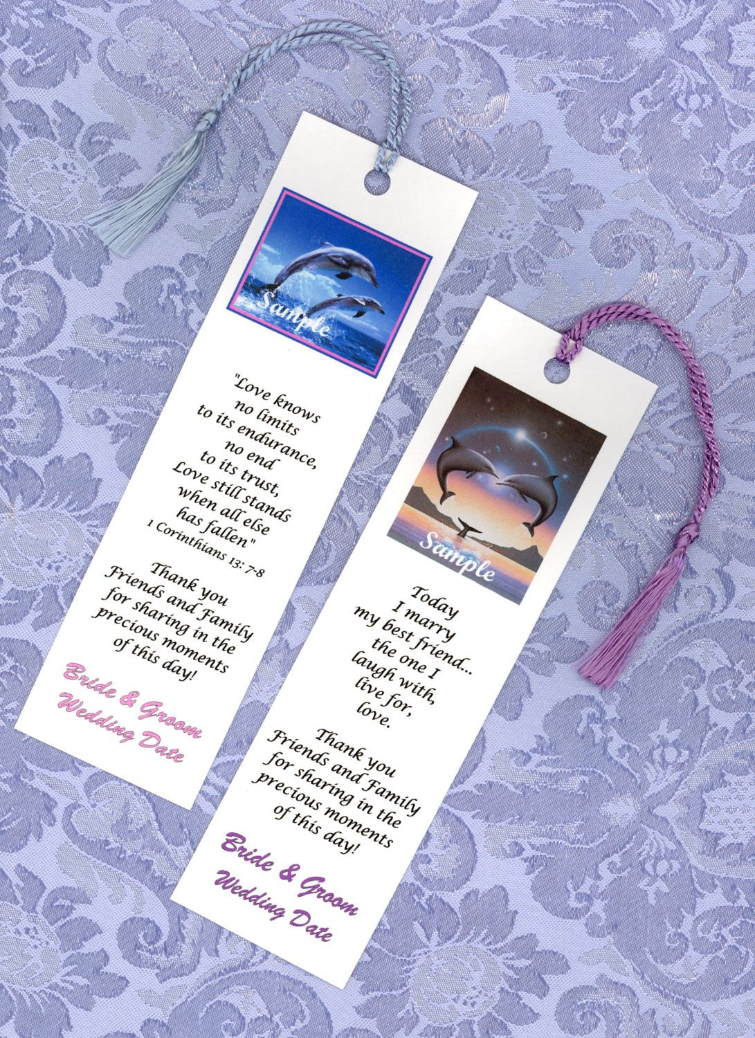 25 Dolphin or Beach Theme Wedding Favors Bookmarks Wedding supplies ...