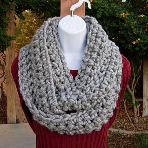 Light Silver Gray Grey Crochet INFINITY SCARF Loop by MicheleMade