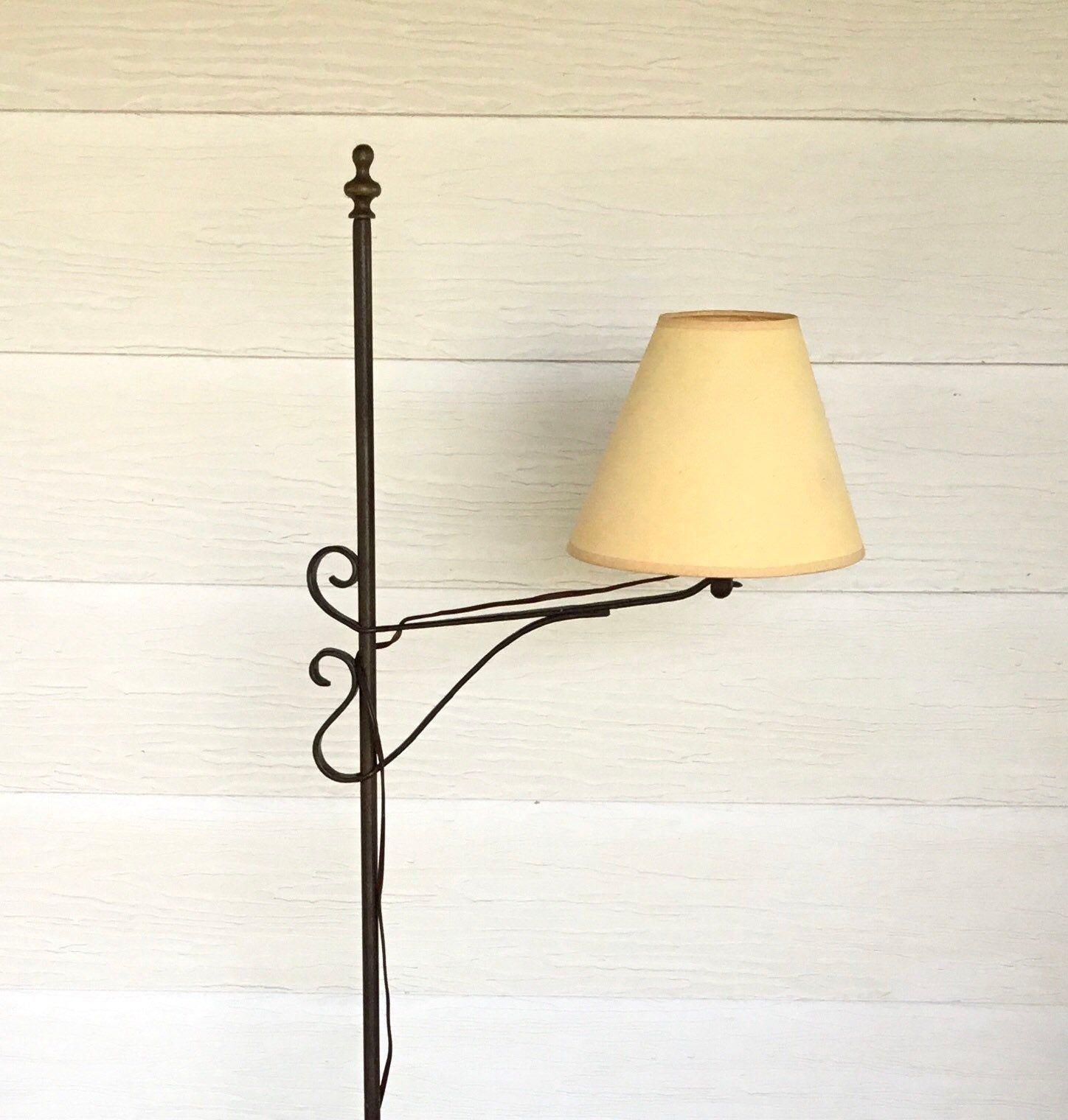 Floor Lamp Forged Iron Early American Black Wrought Iron Etsy Adjustable Lighting Lamp Floor Lamp