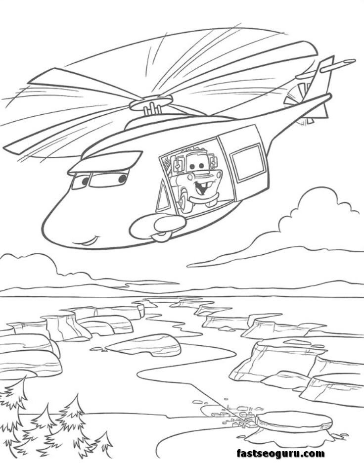 News Helicopters Tow Mater Coloring Page For Kids Cars Coloring