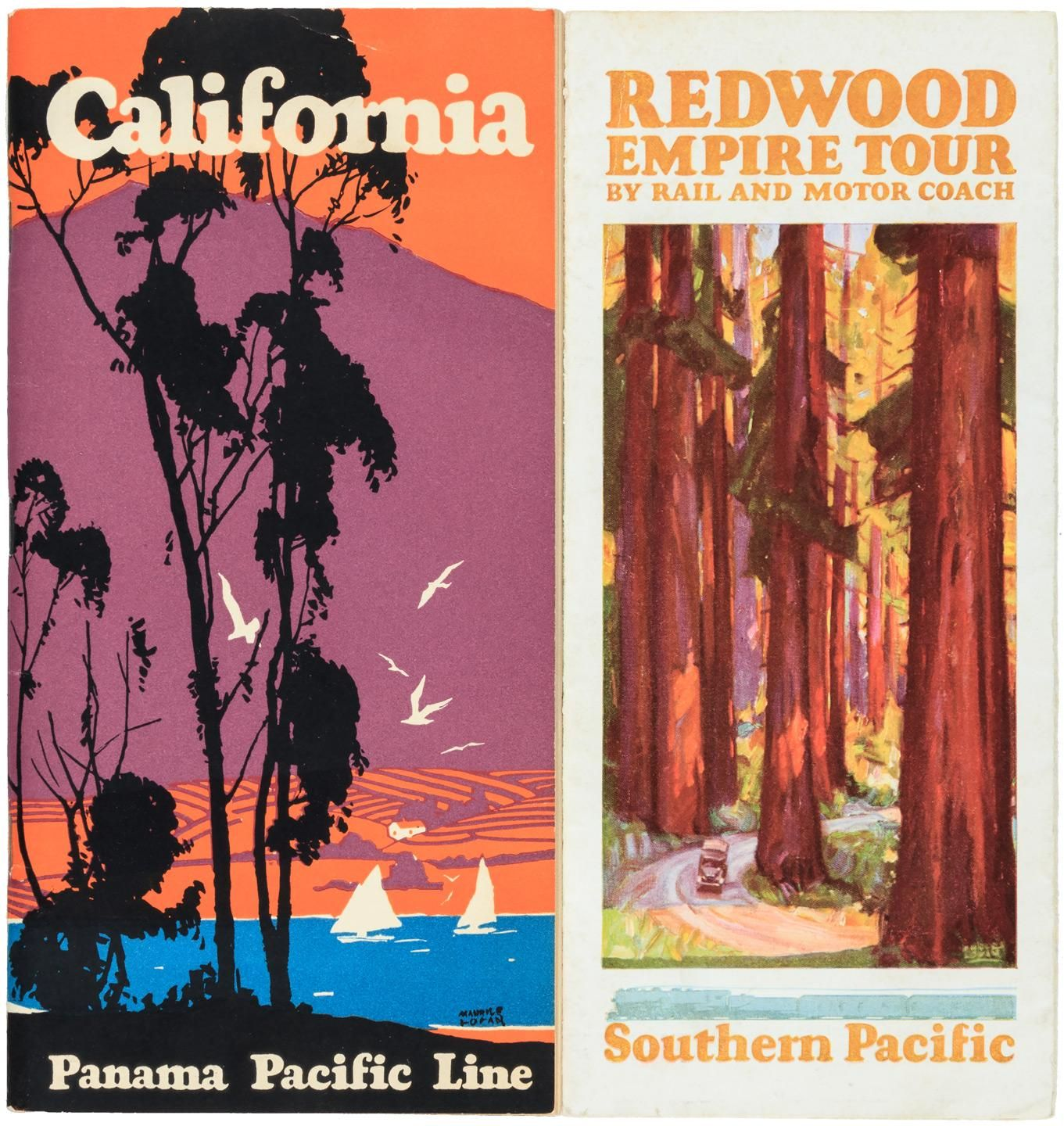 two california travel brochures with illustration by san francisco