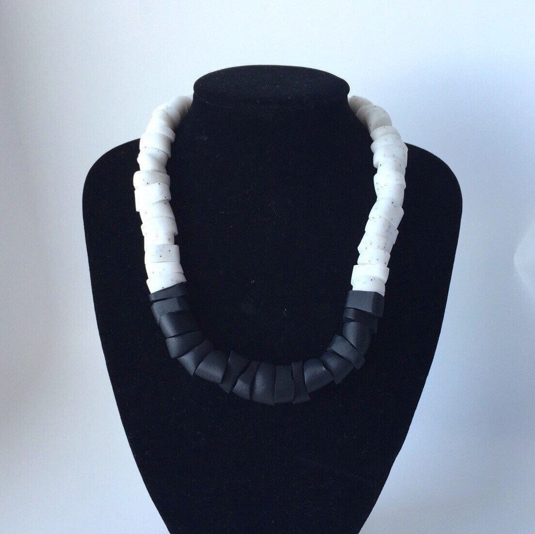 Monochrome statement necklace. Black chunky necklace. polymer clay beads. Black…