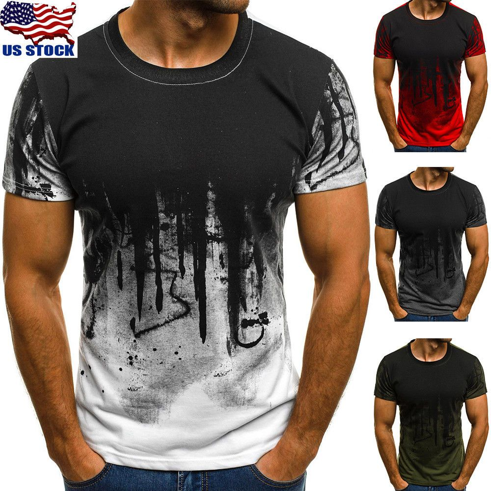 Mens Short Sleeve T Shirt Slim Fit Designer Blouse Tops Casual Shirts Muscle Tee