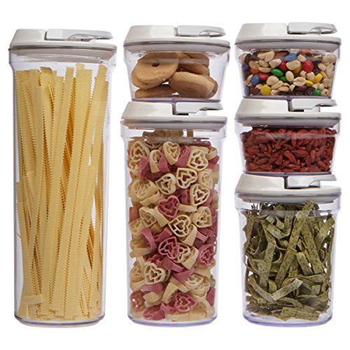 Airtight Clear Acrylic Canister Set Food Container 6 Piece